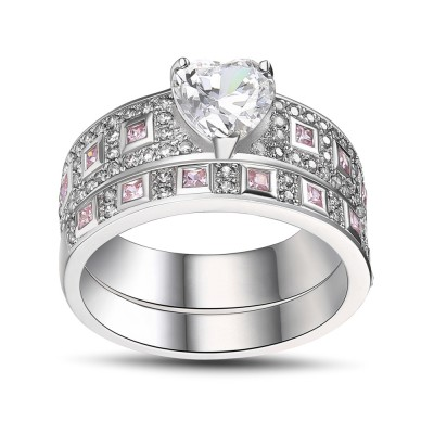 Heart Cut Pink Sapphire 925 Sterling Silver Women's Engagement Ring