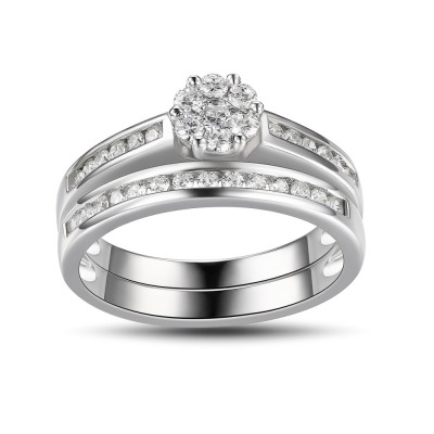 Women's Round Cut White Sapphire 925 Sterling Silver Engagement Ring