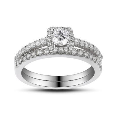 White Sapphire 925 Sterling Silver Round Cut Women's Engagement Ring
