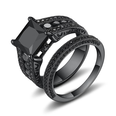 black princess cut black 925 sterling silver engagement ring - Black Wedding Ring Set