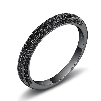 Round Cut Black Sapphire Black Sterling Silver Wedding Bands