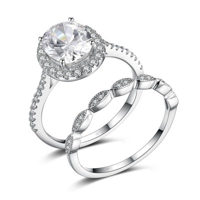 Oval Cut Gemstone 925 Sterling Silver Engagement Ring