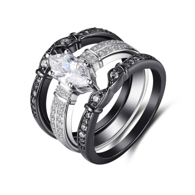 Oval Cut Gemstone Black 925 Sterling Silver Engagement Ring