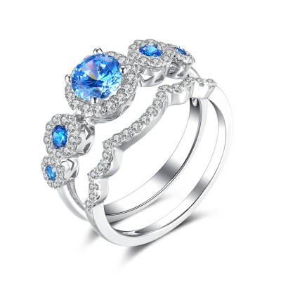 Round Cut Aquamarine 925 Sterling Silver Engagement Ring