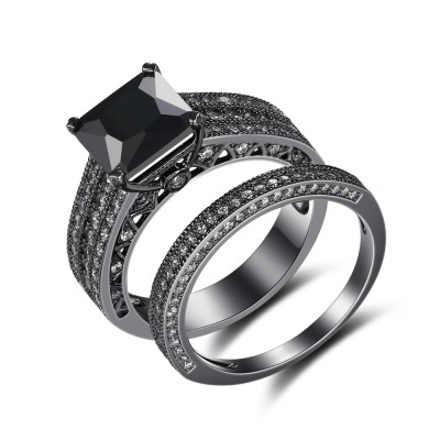 Black 925 Sterling Silver Princess Cut Engagement Ring