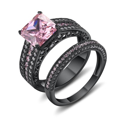 asscher cut pink sapphire black 925 sterling silver engagement ring - Vintage Wedding Ring Set