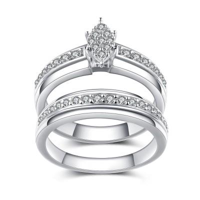 Unique Design White Sapphire 925 Sterling Silver Women's Engagement Ring