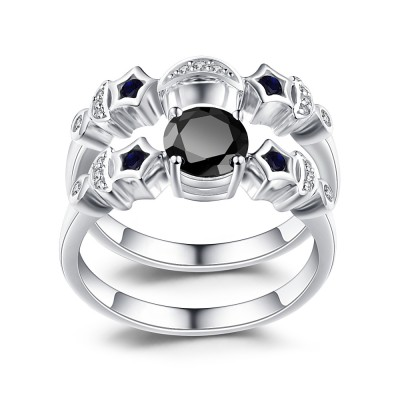 Moon and Star Black Sapphire 925 Sterling Silver Women's Ring