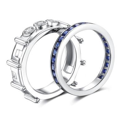 Princess Cut Sapphire 925 Sterling Silver Women's Wedding Bands