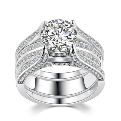 Round Cut White Sapphire Sterling Silver Women's Ring