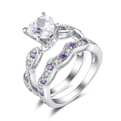 Heart Cut White and Amethyst Sapphire Sterling Silver Women's Wedding Bridal Ring