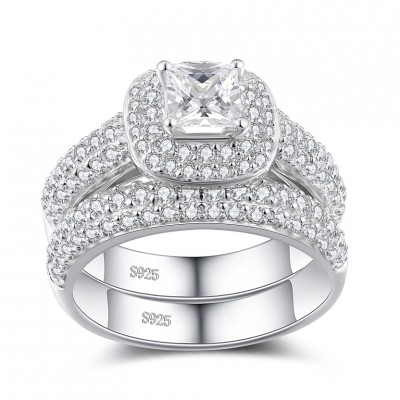 Princess Cut White Sapphire Sterling Silver Women's Bridal Set Ring