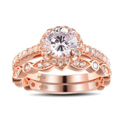 Rose Gold Round Cut White Sapphire Sterling Silver Women's Bridal Ring