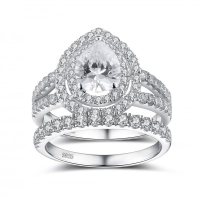 pear cut white sapphire 925 sterling silver womens ring bridal set - Vintage Wedding Ring Set