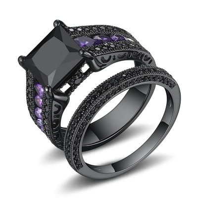 Black Sapphire Wedding Ring Sets Lajerrio Jewelry