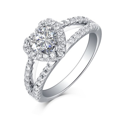 Heart Cut 925 Sterling Silver White Sapphire Halo Engagement Rings