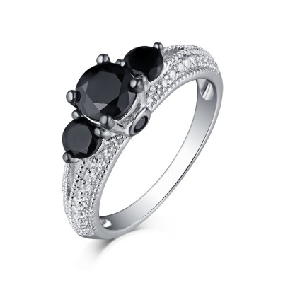 Round Cut S925 Silver Black Sapphire 3-Stone Engagement Rings