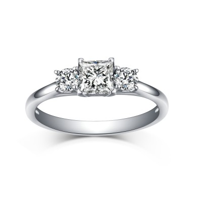 Princess & Round Cut White Sapphire 925 Sterling Silver Three Stone Engagement Rings