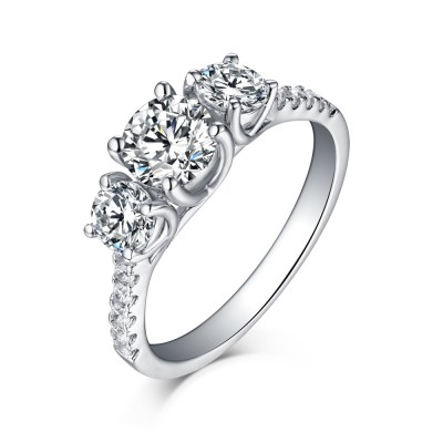 Round Cut 925 Sterling Silver White Sapphire Three-Stone Engagement Rings