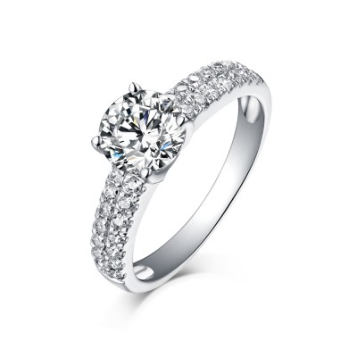 Round Cut 925 Sterling Silver White Sapphire Engagement Rings