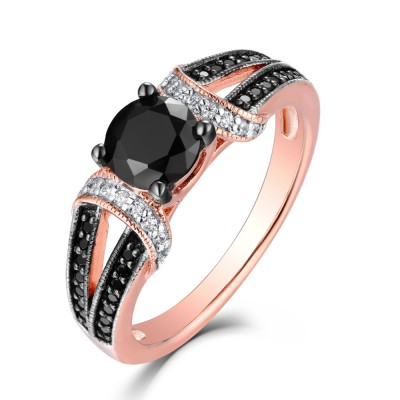 Round Cut Black & White Sapphire Rose Gold S925 Engagement Rings