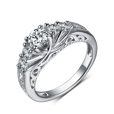 Classic Round Cut White Sapphire 925 Sterling Silver Engagement Rings