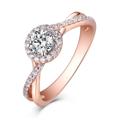 Round Cut Rose Gold 925 Sterling Silver White Sapphire Halo Engagement Rings  ...