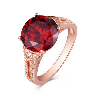 Round Cut Ruby Rose Gold 925 Sterling Silver Engagement Rings