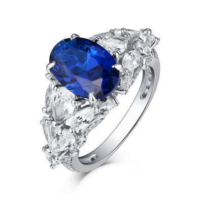 Oval Cut S925 Silver Blue Sapphire Art Deco Engagement Rings