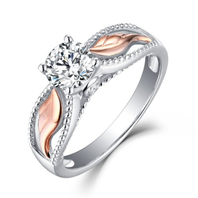 Round Cut White Sapphire Rose Gold Sterling Silver Womens Engagement Ring