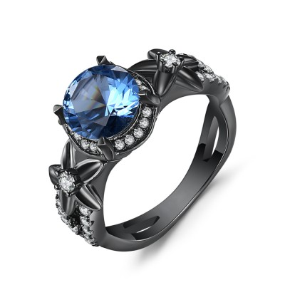 Round Cut Aquamarine Black 925 Sterling Silver Engagement Rings