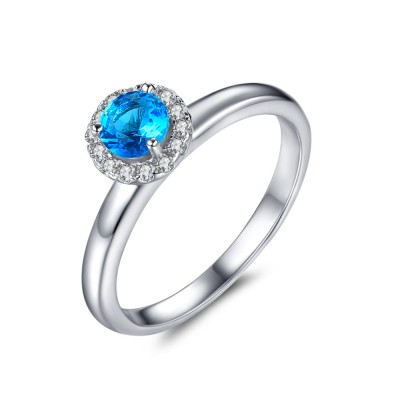 Round Cut 1/2CT Aquamarine Sterling Silver Engagement Rings