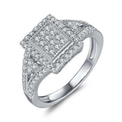 1/3CT Princess Cut Gemstone Sterling Silver Engagement Ring