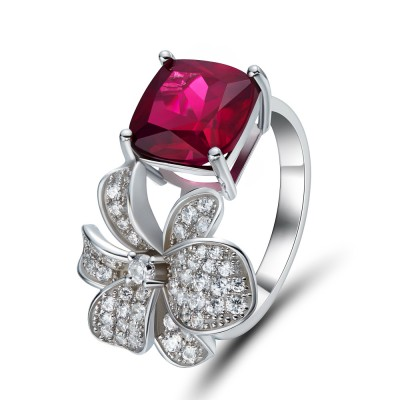 Cushion Cut Garnet Sapphire 925 Sterling Silver Cocktail Ring