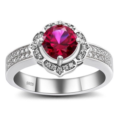 Round Cut Ruby 925 Sterling Silver Cocktail Ring