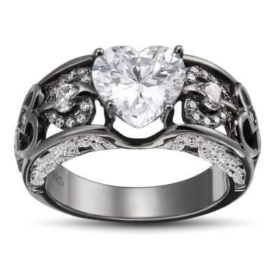 Heart Cut White Sapphire 925 Sterling Silver Women's Ring