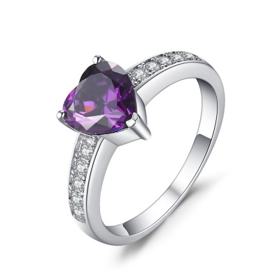 Heart Cut Amethyst 925 Sterling Silver Engagement Ring