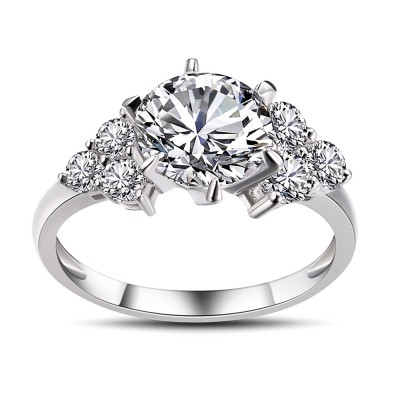 Round Cut White Sapphire 925 Sterling Silver Engagement Ring ...