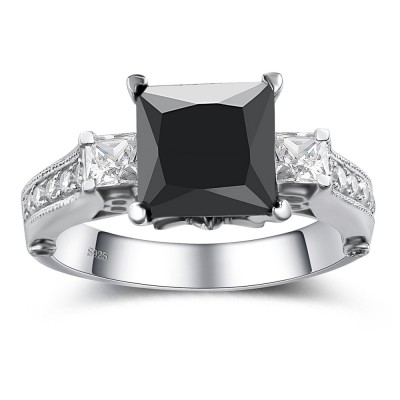 princess cut black gemstone 925 sterling silver engagement ring - Black Diamond Wedding Rings For Women