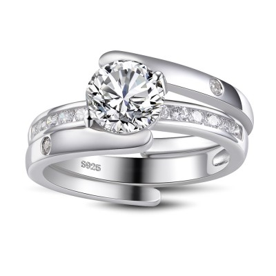 Unique Round Cut White Sapphire Sterling Silver Women's Bridal Ring