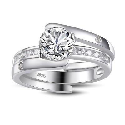 Unique Round Cut White Sapphire Sterling Silver Women's Bridal Ring