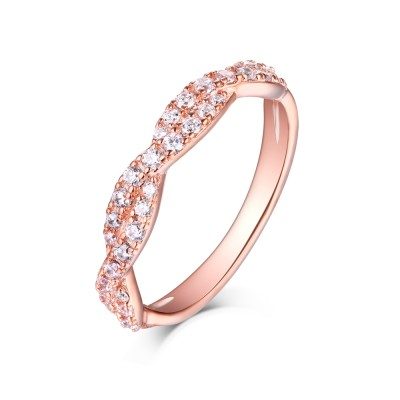 Round Cut White Sapphire Rose Gold 925 Sterling Silver Wedding Bands