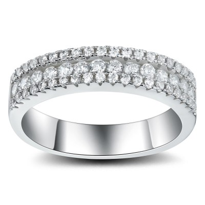 Charmant Round Cut White Sapphire 925 Sterling Silver Womenu0027s Wedding Bands ...