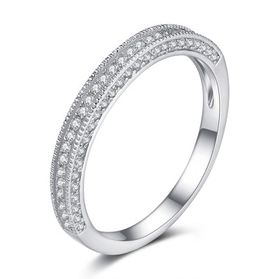 Round Cut Gemstone 925 Sterling Silver Women's Wedding Bands