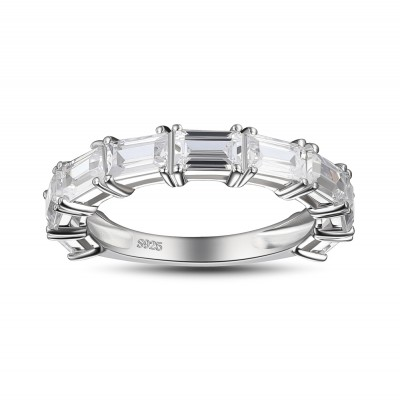 Emerald Cut White Sapphire 925 Sterling Silver Womenu0027s Wedding Bands ...