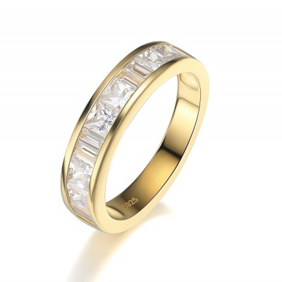Princess Cut White Sapphire Gold 925 Sterling Silver Women's Wedding Bands