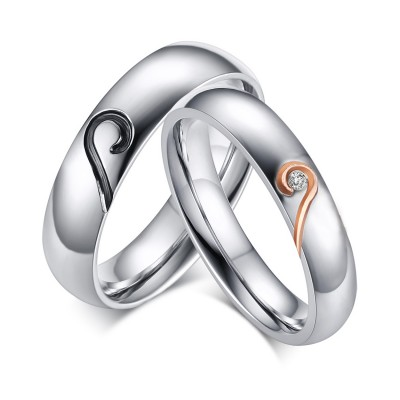 Heart Design Titanium Steel Gemstone Promise Ring for Couples