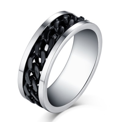 Black Chain Design Silver Titanium Steel Men's Ring