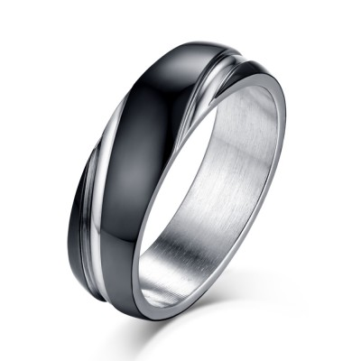 black and silver titanium steel mens ring - Wedding Rings Black