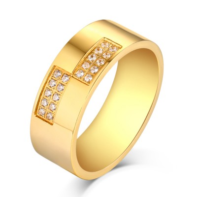 Round Cut White Sapphire Gold Titanium Steel Men's Ring